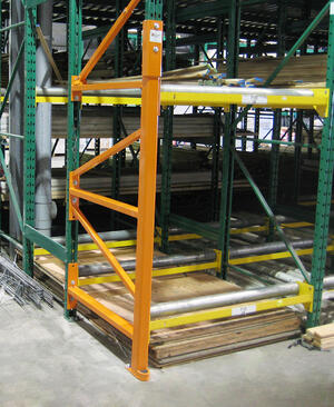 Repaired pallet rack upright