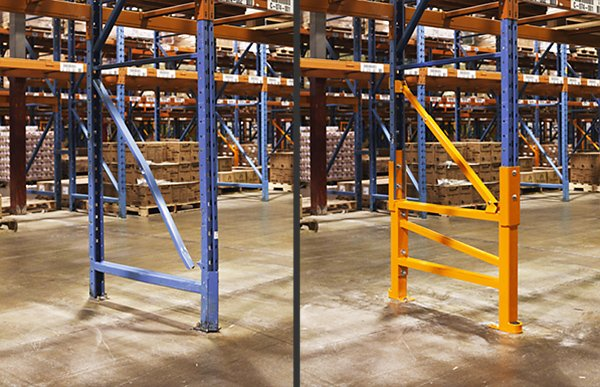 Before/after of a damaged pallet racking repaired with a Damo Pro (DBRS) kit