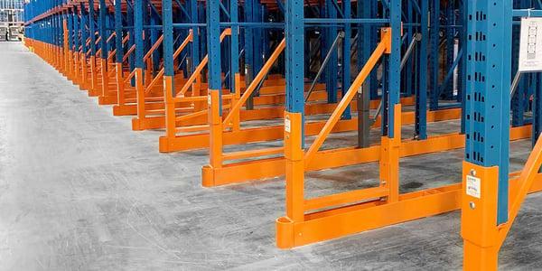 Custom Damo Pro pallet rack repair kit install on several uprights