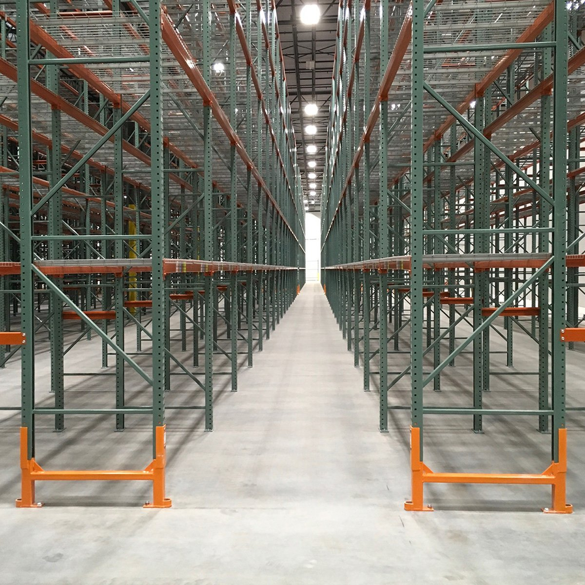 Damo King protecting end of aisle uprights in a warehouse