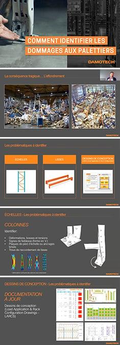 Captures d'écran du webinaire comment identifier les dommages aux palettiers