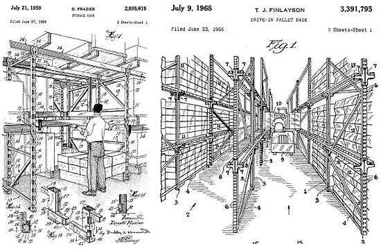 Patents for single deep and drive-in pallets.