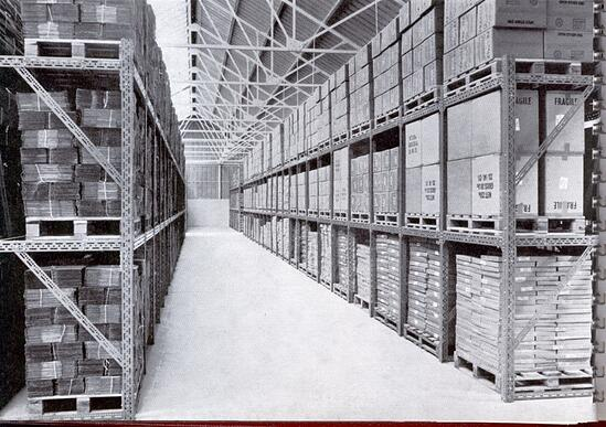 Pallet racks made with Dexion slotted angle.