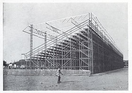 Bleachers made with Dexion slotted angle.