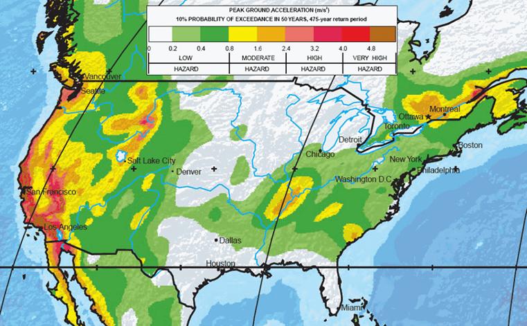 une carte des risques sismiques en Amérique du Nord