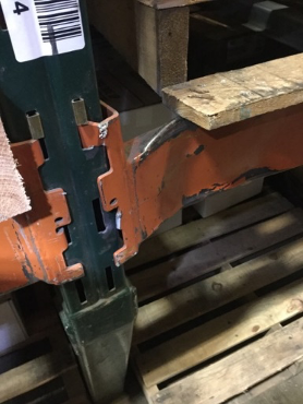 damaged beams on pallet rack