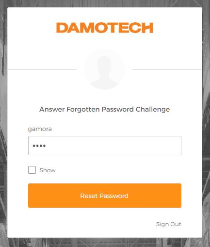 Damotech Platform enter new Password