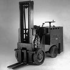 First high reach forklift by Yale and Towne.